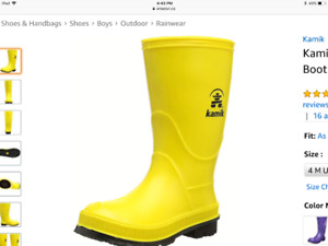 Wanted boys' yellow rubber boots size 4