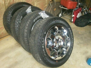 """Set of 4 F150 Chrome 20"""" Factory Wheels and M&S Pirelli Tires"""