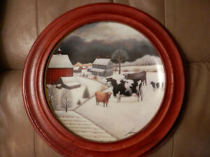 """Cows in Winter"" Lowell Herreo Collector Plate"