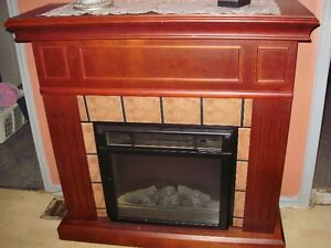 cherry looking fireplace