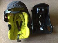 Graco car seat/car seat isofix base/raincover/head support