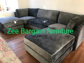 Grey Fabric U shape 7 seater Corner sofa New free local delivery