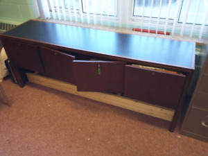 Leather topped credenza file cabinet