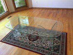 RETRO GLASS COFFEE TABLE WITH GLASS SOFA TABLE