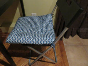 3 Folding chairs (Black) with Chair cushions, blue