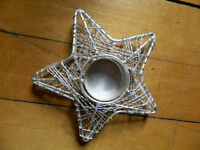 Sterling Silver Look Metal Star Shape Tealight Holder New