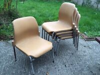 Five Steltube children's stacking chairs