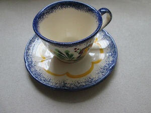 HAND PAINTED CUP & SAUCER MADE IN FRANCE