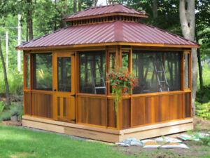 Pavillon – Gazebo – Abri de SPA en bois de Cèdre Rouge