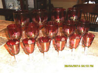 15 coupes en verre rose cranberry glass glasses #01027 Rawdon