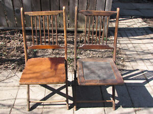 Pair of vintage or antique folding wooden chairs
