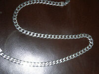 "100% pure silver mens necklace.""22 inches long by 1/4 inch."