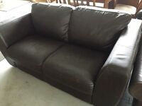 Dark chocolate Brown leather sofa