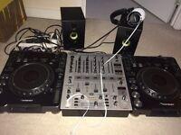 2x pioneer cdj 1000 mk2, behringer 700 mixer, brand new Sony headphones and Hercules speakers