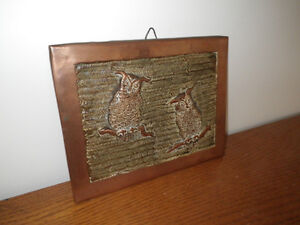 Handmade Copper Hanging Wall Plaque Owls