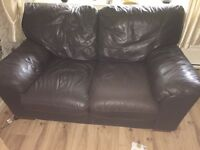 3 and 2 brown seater sofas
