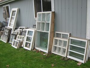 75 OLD WOODEN WINDOWS $20 EACH TRURO 3 OLD DOORS