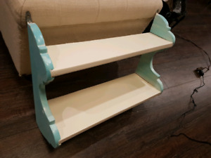 Painted teal blue and white shelf
