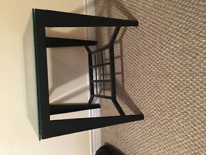 Glass top side table, $30