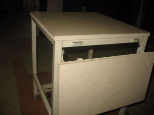 White Arborite Table with Steel Frame