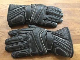 Buffalo Black Leather Motorcycle Gloves.