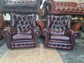 Pair of Oxblood Chesterfield Arm Chairs