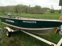 14' Deep and Wide w Floor with 30hp Evinrude and Trailer