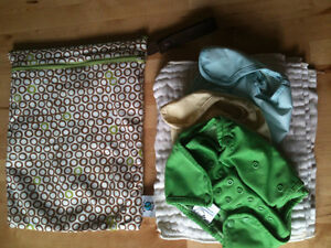 Planet Wise Wet Diaper Bag & 3 cloth diaper covers with liners