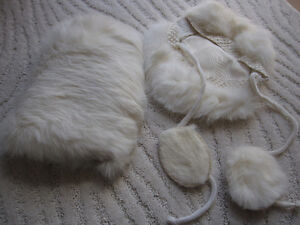 Vintage Fur Muff and Hat for Young Child or Doll