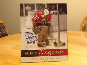 AUTOGRAPHED 8x10 UPPER DECK TONY ESPOSITO NHL LEGENDS CARD