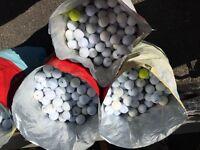 Large quantities of golf balls