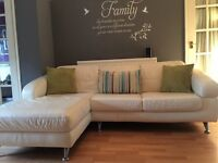 DFS 3 seater chaise off white leather & lime chair