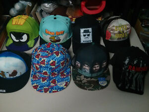 Hats and touques hats are all snapbacks except Ramones is fullba
