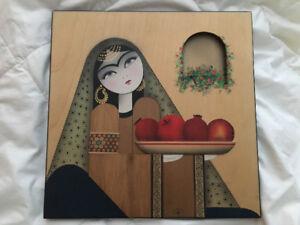 Tableau Perse en bois, 3D. Fait a la main