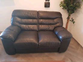 Dfs genuine leather dark brown 2 seater sofa
