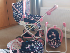 Kids play pushchair and rocker