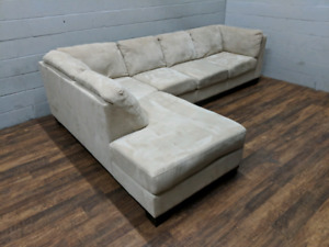 (Free Delivery) - Microsuede sectional L-shaped sofa
