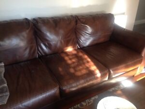 Bonded leather couch and love seat