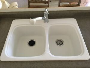 BLANCO SILIGRANITE DOUBLE SINK AND KOHLER POLISHED CHROME FAUCET