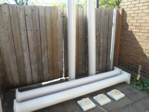 4 White Columns  WOOD TOWER POLES With Base Support Beams