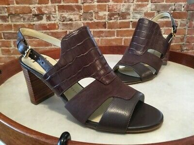 Isaac Mizrahi Brown Leather & Suede & Croco Genie Slingback Heeled Sandal NEW