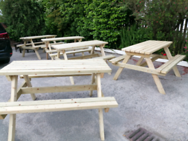 Picnic tables 1.4m long adult handcrafted wooden