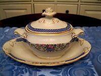 Sucrier couvercle assiette porcelaine Antique England