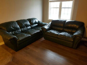 Leather couch and loveseat --- free!!