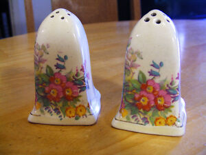 Vintage Porcelain English Made Salt and Pepper Shackers