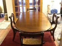 Mahogany extendable dining table and 4 upholstered chairs Good condition Delivery available