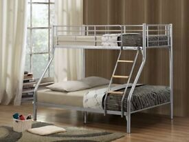 Brand New Double Trio Sleeper Metal Bunk Bed Frame With Orthopaedic Or Memory Foam Mattress Option