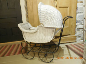 Doll Carriage Wicker With Manufacturers Plate still intact