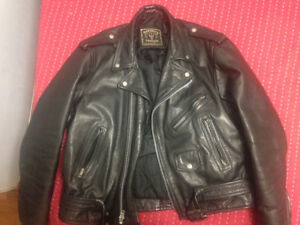 Men's Small Black Leather Motorcycle Jacket