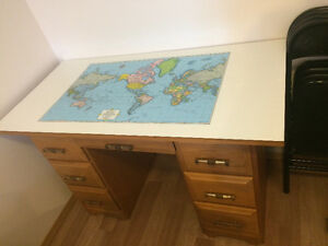 Desk with Rand McNally World Map Desktop